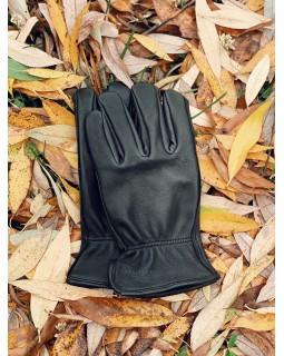 Классические кожаные черные перчатки