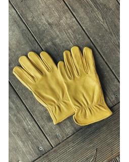 Классические кожаные жёлтые перчатки